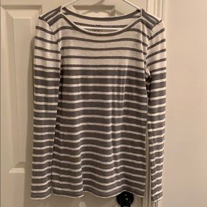 Gray and white striped J crew swoop-neck Size XS
